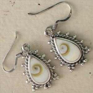 Cat's Eye of Shiva Sterling Silver Dangle Earrings